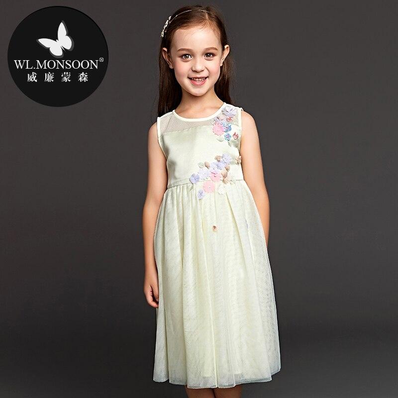 Marque fille robe automne 2019 printemps et été nouvelle robe pour enfants robe de gaze robe de princesse sans manches filles robes de mode