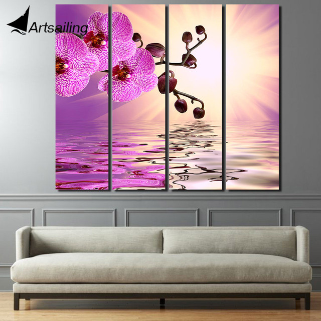 Aliexpress.com : Buy 4 piece canvas purple flower Phalaenopsis ...