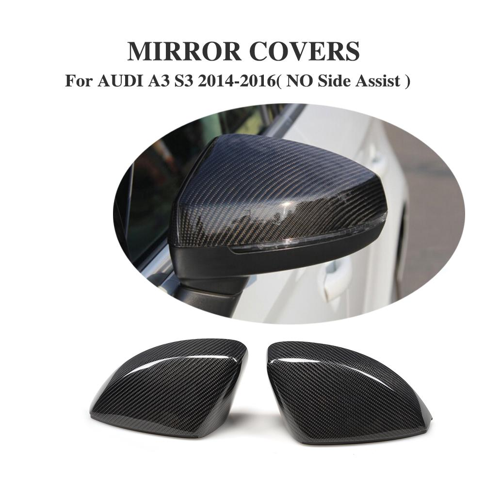 2PCS/Set Carbon Fiber Side Wing Mirror Covers Rearview Mirror Caps for AUDI A3 S3 RS3 8V 2014 2016 Replacement Type|mirror carbon fiber|cap audi|fiber carbon - title=