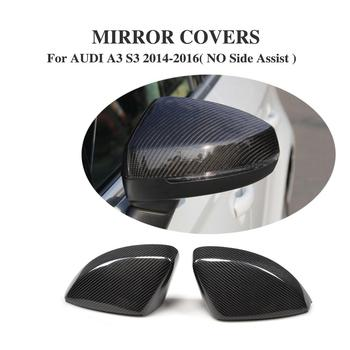 2PCS/Set Carbon Fiber Side Wing Mirror Covers Rearview Mirror Caps for AUDI A3 S3 RS3 8V 2014-2016 Replacement Type