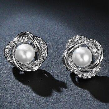 Utimtree New Hollow Flower Pearl Earrings Fashion Jewelry Silver Stud Earrings for Women Wedding Accessory Cubic Zircon Earring