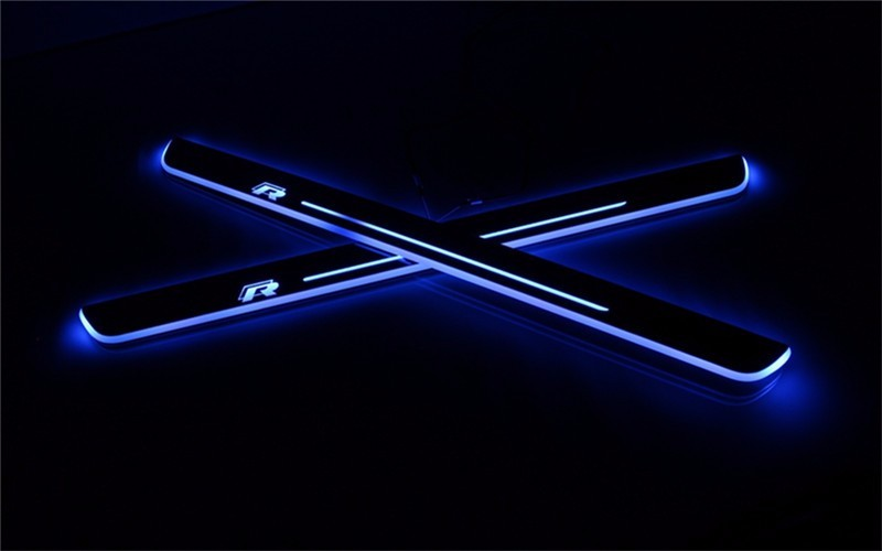 WOOBEST Waterproof Ultrathin Acrylic LED door sill for Volkswagen golf 7 MK7 Led moving  ...