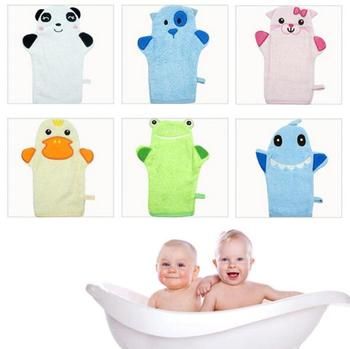 Noworodka szczotki do kąpieli ręcznik dla niemowląt akcesoria niemowlę gąbka prysznicowa tarcie bawełna śliczne dziecięce rękawiczki do kąpieli tanie i dobre opinie Babies shampoo towel Baby cartoon bath glove TECHOME W kształcie litery t Zwierząt 100 Cotton 6 styles Cute character animal pattern