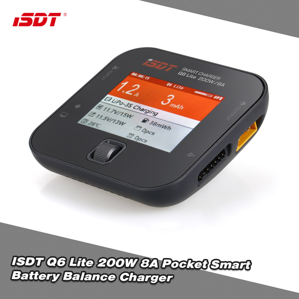 Original ISDT Q6 lite 200W 8A Pocket Battery Balance Charger for RC Drone Helicopter Quad Car