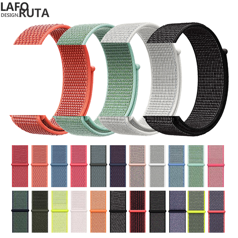 Laforuta Nylon for Apple Watch Band Series 5 40mm 44mm iWatch Strap Sport Loop Wristbands 38mm 42mm For Series 4/3/2/1 Women Men image