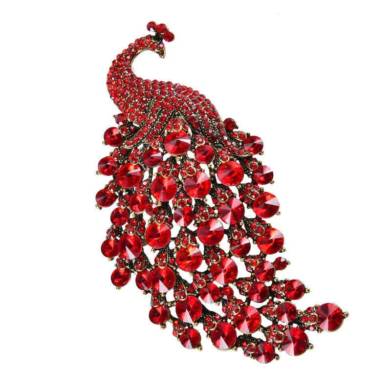 Deshow Colorful Rhinestone Del Pavone Spille Per Le Donne Grande Uccello Spilla Spille Accessori di Moda D'epoca di Alta Qualità Ne