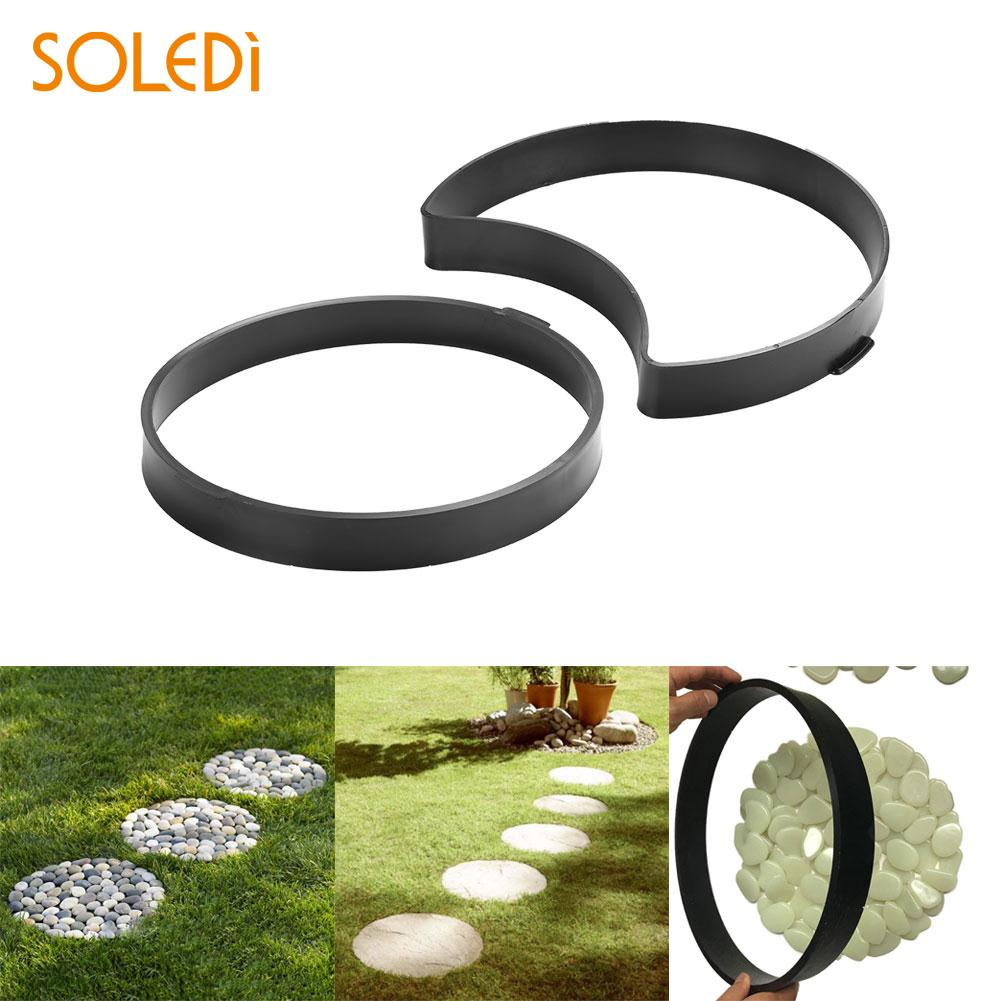 2PCS/Lot Path Maker Mold Pavement Mold RoundConcrete Molds Cement Brick Molds DIY Garden Practic Riginality Road Slate