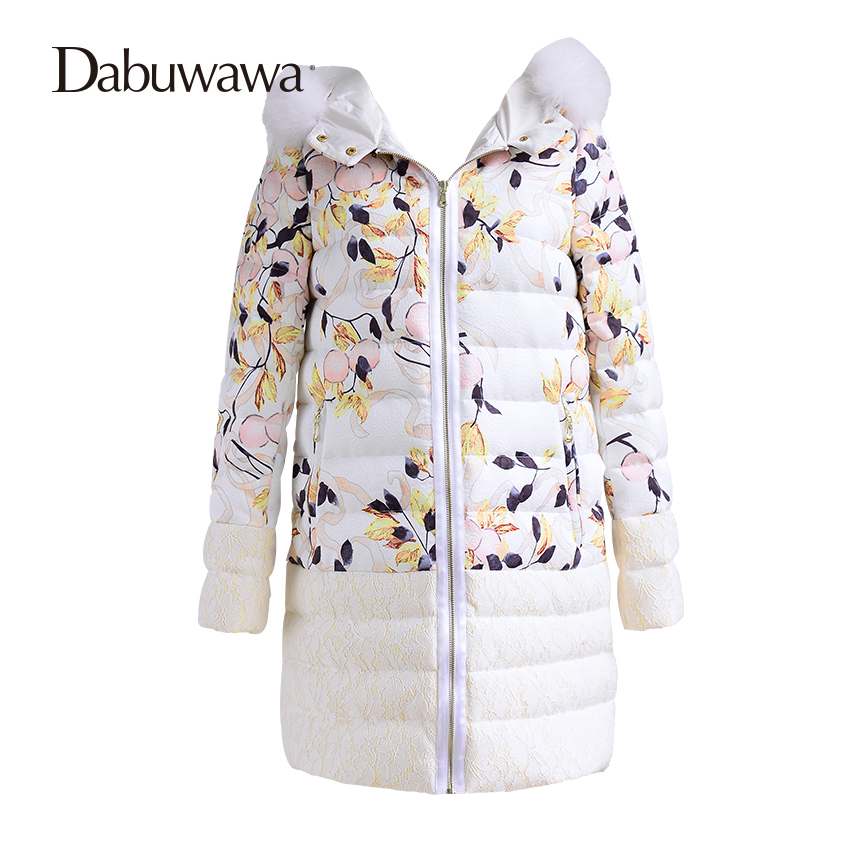 Dabuwawa White Floral Print Warm Coat Hooded Winter Casual Womens Down Jackets Brands Thick Outerwear Parkas