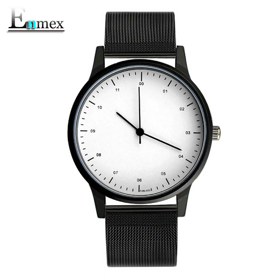 Enmex Wristwatch Steel-Band Quartz Black White Simple-Stylish with Face Fashion Vogue