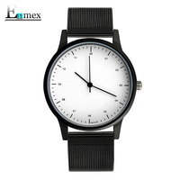 2017gift Enmex Cool Style Wristwatch Brief Vogue Simple Stylish With Black And White Face Steel Band