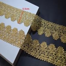 Somelace 3 ярдов/партия Золотая кружевная ткань свадебное платье вышитое бисером кружево Аппликация золотая нить вышивка кружева аксессуары отделка 18011401