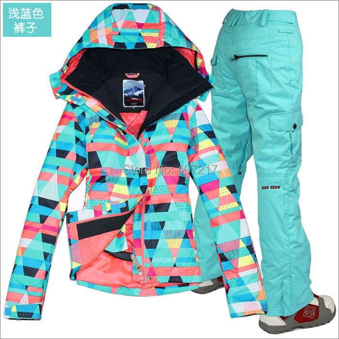 Prix pour 2015 hot femmes mesdames combinaison de ski snowboard vêtements de ski coloré figure géométrique veste et pantalon bleu clair étanche XS-L