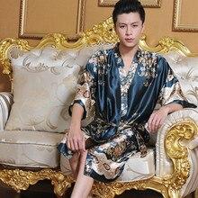Manview шелк халаты кимоно шелковый человека халат сексуальные пижамы мужской мужские