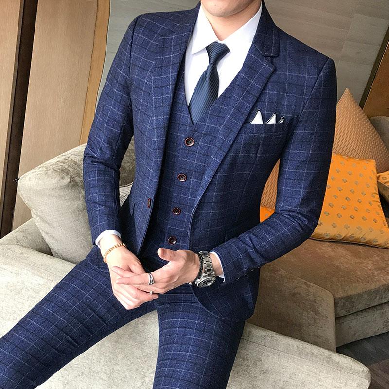 Bleu Costumes Tendances Britannique Nouveau Professionnel pu Ciel Gilets Homme Meilleur Printemps Hommes De Costume Pantalon Plaid tops D'affaires va17PZv