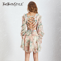 TWOTWINSTYLE Print Hollow Out Sexy Women Dress V Neck Lantern Sleeve High Waist Ruffles Mini Dresses Female Fashion 2019 Summer