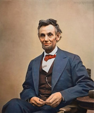 TOP handpainted art oil painting work–America USA  President  Abraham Lincon–FREE SHIPPING COST