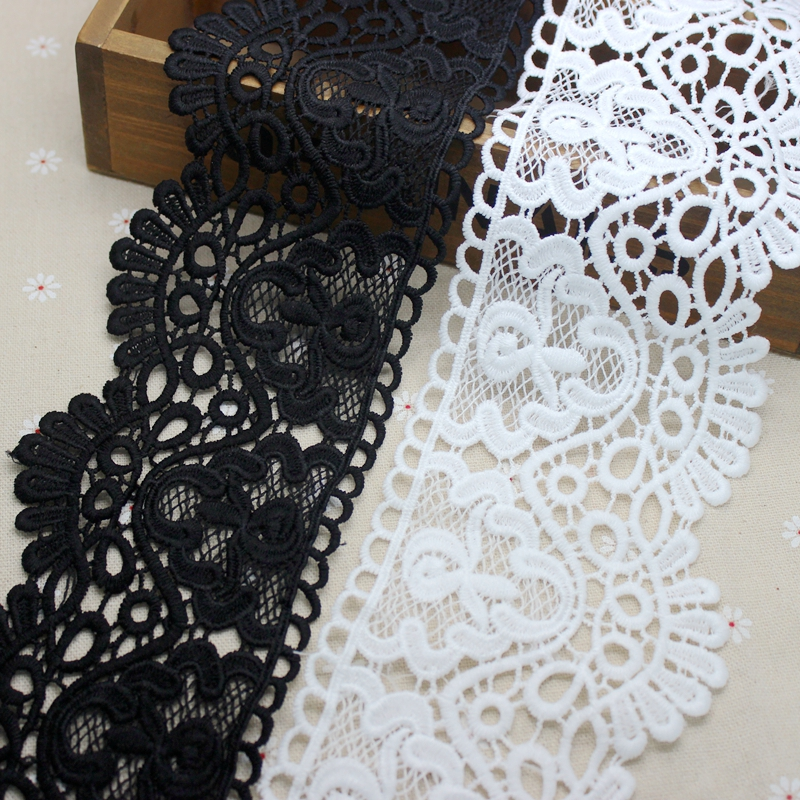 2 yards 8.5 cm White Black Lace Trims Applique Polyester/Cotton Costume Trimmings Ribbon Home Textiles Sewing Lace Fabric