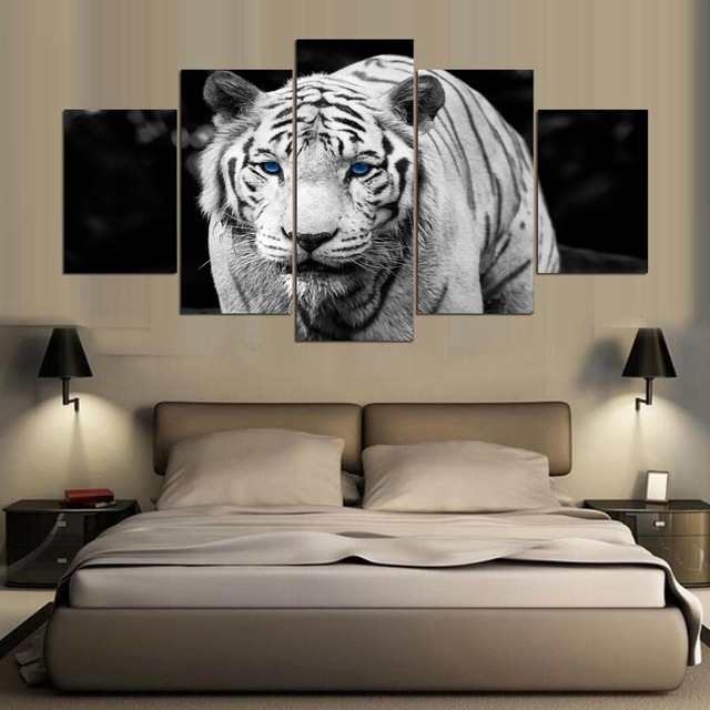 5 Pieces Black And White Tiger Canvas Wall Art Printings For Bedroom U0026  Living Room Decoration