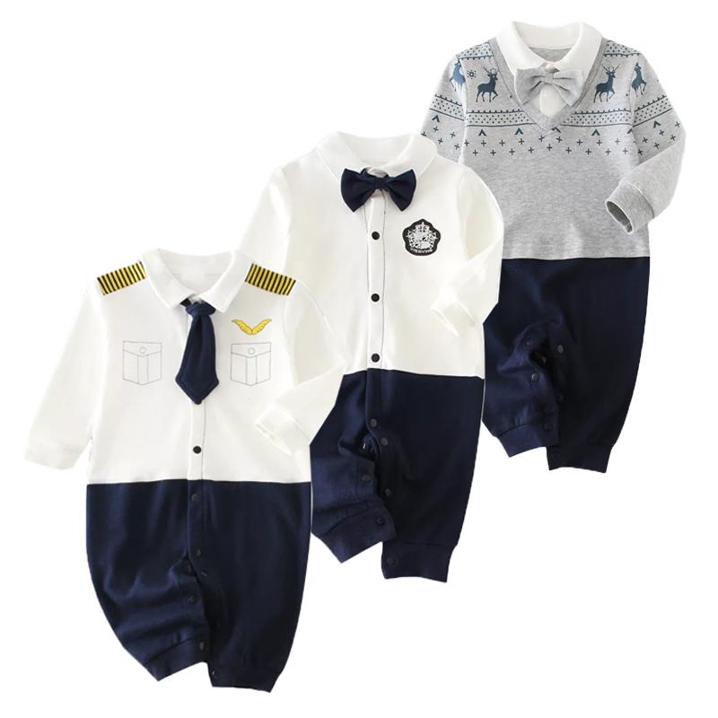 Spring Baby Rompers Cotton Baby Boy Clothes Baby Girl Clothes Newborn Baby Clothes Gentleman Roupas Bebe Infant Jumpsuits Kids