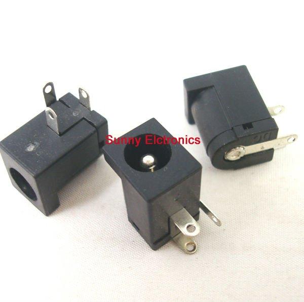 50pcs DC power jack 5.5 *2.5mm Plug Socket Connectors black adapter