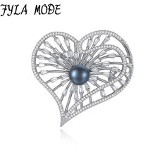 Black Freshwater Pearl 925 Silver Heart Brooches Fashion Dress Suit Women's Brooch Bijouterie Accessories Exquisite Jewelry Gift
