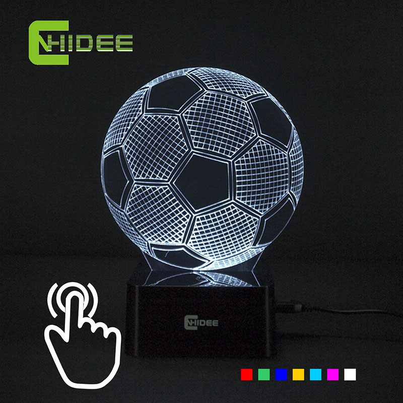Seven Colors Changing Soccer Ball Light Football 3D Visual Led Night Light USB Novelty Table Lamps
