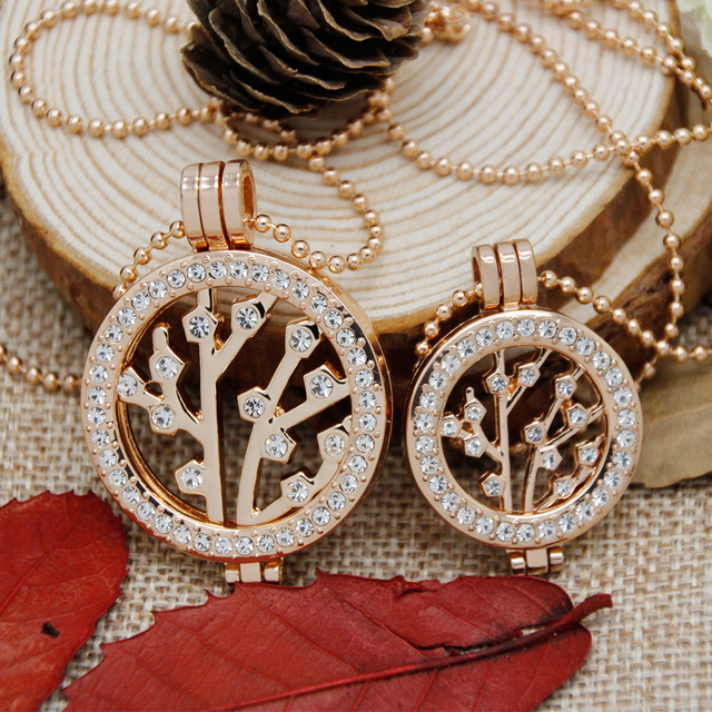 Rose Gold Plated Lovely Plum Flower My Coin Necklace Set Coin Holder Pendant Necklace for Women Fashon Jewelry 2pcs/set CNRG0062