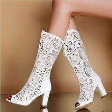 Новый 2014 летние сапоги с открытым носком колено толстые на высоком каблуке женская обувь вырез горный хрусталь украшения сандалии