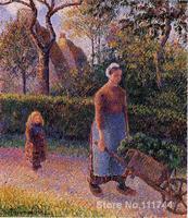 Woman with a Wheelbarrow Camille Pissarro paintings for sale Landscape art Handmade High quality