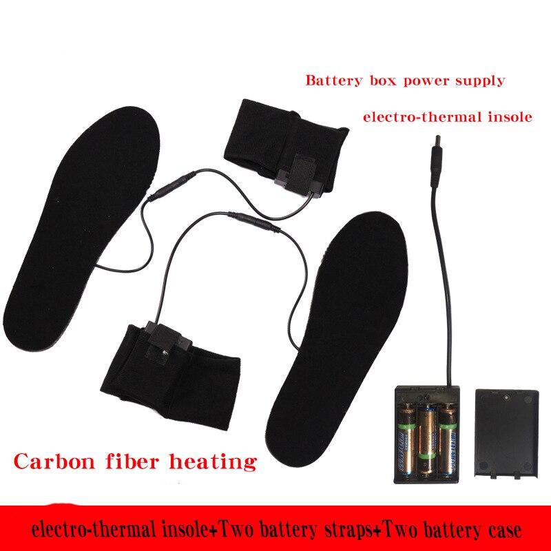 Plantillas de piel de felpa calentada eléctrica de fibra de carbono heatingBlack para caminar plantillas de calefacción 2 correas y estuches lisse