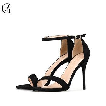 GOXEOU/2018 г. Новая женская обувь, сандалии на высоком каблуке, пикантные летние туфли на шнуровке, флоковые вечерние туфли с круглым носком ручн...
