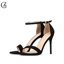 GOXEOU 2018 New Women shoes Sandals High Heels Sexy Summer Lace-up Flock Party Round Toe Handmade Free Shipping size32-46