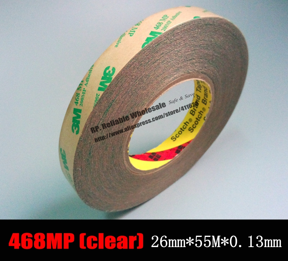 (26mm *55 Meters *0.13mm) 3M 468MP Transparent Scotch Double Sided Adhesive Transfer Tape for Fake Nail, Wig, PCB Parts Assemb 10m super strong waterproof self adhesive double sided foam tape for car trim scotch