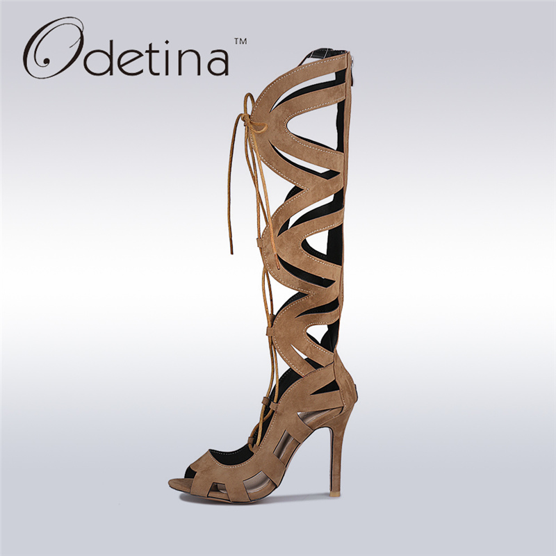 Odetina 2017 Fashion Knee High Gladiator Sandals High Heels Cross Tied Cut Outs Knee Boots Summer Shoes Stilettos Big Size 32-46 patent leather knee high fashion women boots buckle strap cool motorcycle boots thin high heels cut outs sandals boots shoes