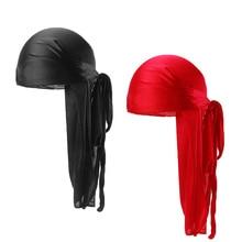 2pcs/lot Mens Silky durag Bandanas Turban hat Wigs Doo Men Satin Durag Biker Headwear Headband Extra Long Tail Du-Rag
