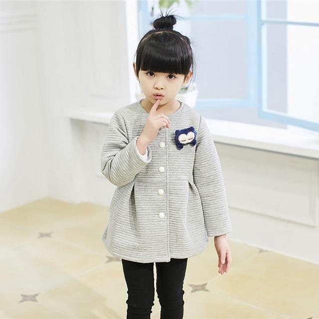 2017 Primavera Crianças Jaquetas Bebê Pequeno Pingüim Única Criança Breasted Outerwear Casaco Menina Jaquetas Para Meninas Arco Roupas de Menina