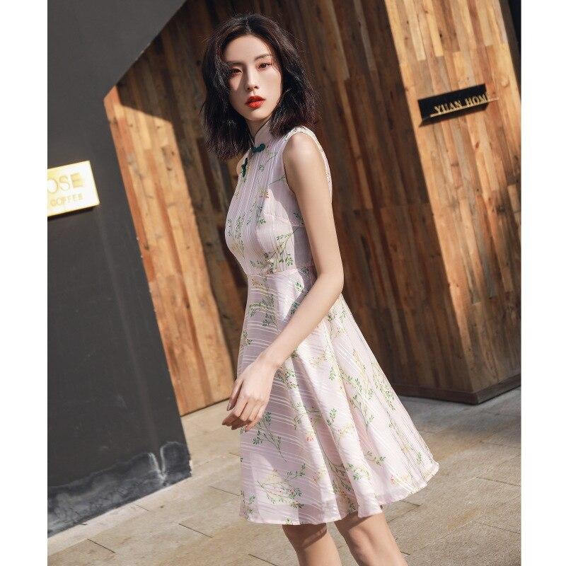 Summer new style short chiffon small A retro improved girls cheongsam chinese traditional dress