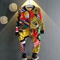 Chicos Chicas Deportes Trajes de Ocio 2017 Otoño Versión Coreana de ropa Infantil Niñas de Impresión de Dos Piezas Traje de Los Niños paño