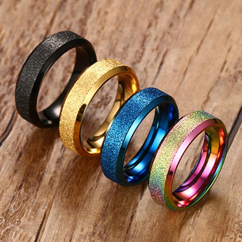 Women 4 Colors Fashion 6mm Wedding Band Ring Quality Stainless Steel with Gold/Black/Blue/Multicolor Plated Engagement Ring