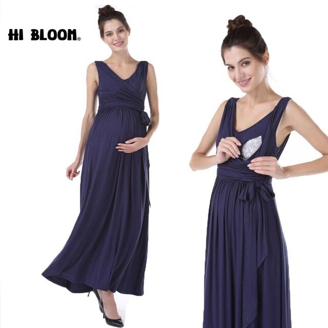 9ca587844c3cc HI BLOOM Summer Long Dresses for Pregnant Women Nursing Maternity Dresses  Sexy Elegant Maternity Gown Pregnancy Clothing