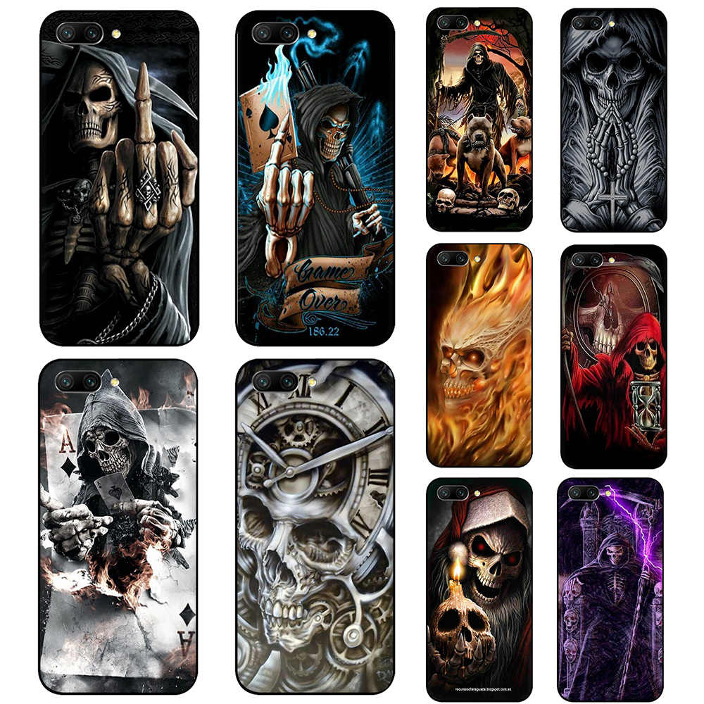 Grim reaper skull skeleton Soft Silicone phone case for Huawei Y6 Y7 Prime Honor 6A 7A 7C 7X 8 8C 8X 9 10 Lite view 20 9X Pro