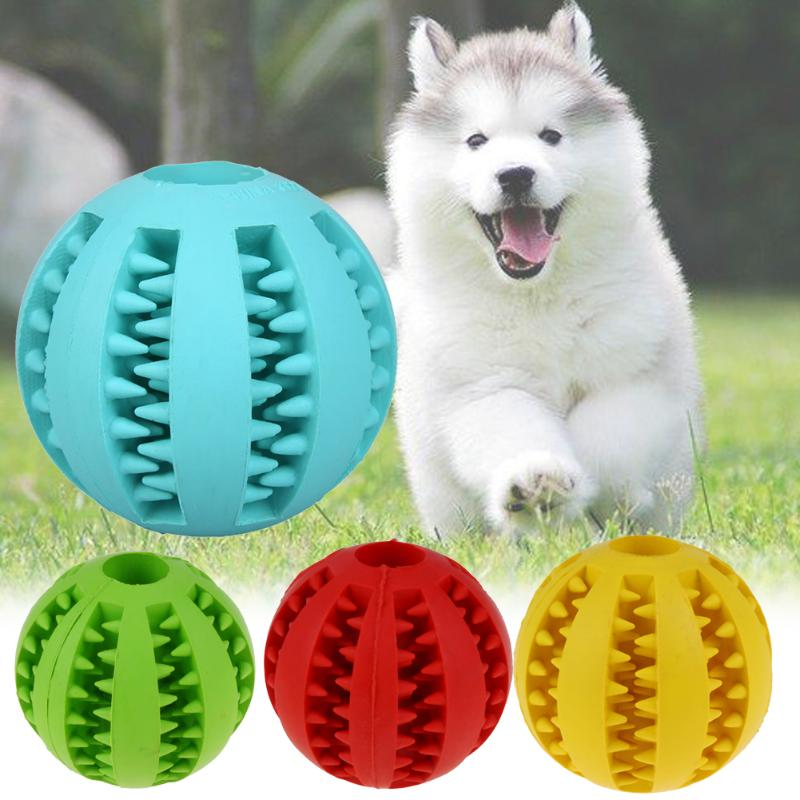 Pet Dog Cat Rubber Ball Chew Treat Cleaning Training Interactive Teething Natural Rubber Puppy Dog Bite-Resistant Ball Toys Food image