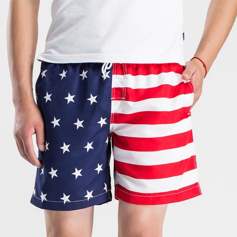 2017 Summer Board Shorts Men Casual American Flag Quick Dry Beach Shorts Loose Print Clothing M L XL 2XL