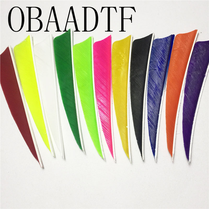 Bow & Arrow 50pcs High Quality 4 Inch Shield Cut Shape 12color Archery Hunting And Shooting Arrow Feather Fletches Hot Sale Be Novel In Design