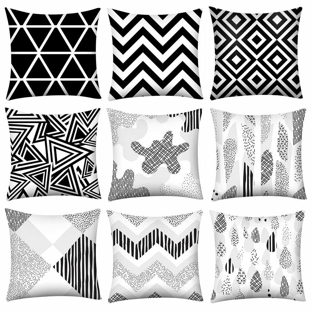 Pillow Case Creative Black and White Geometric Pattern Pillow Cases Polyester Fiber Contemporary Pillow Case L0402