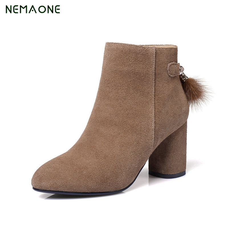 NEMAONE Womens Genuine Leather Shoes High Heels Ankle Boots round Toe Autumn Winter High Quality Fashion Sexy Martin Shoes Woman front lace up casual ankle boots autumn vintage brown new booties flat genuine leather suede shoes round toe fall female fashion