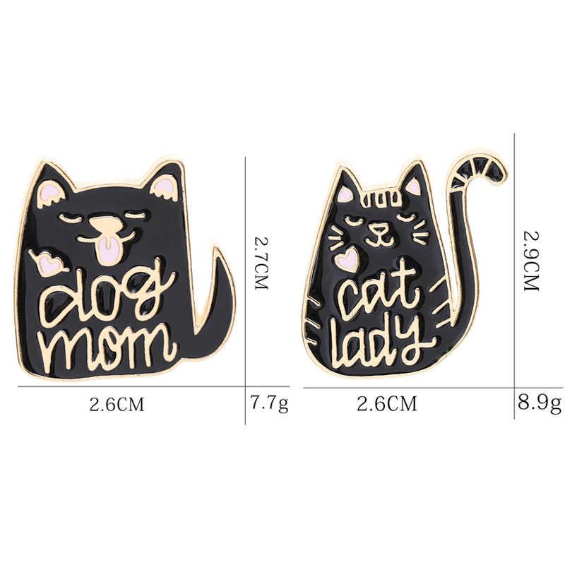 เข็มกลัดสัตว์แมวแมวสีดำเคลือบ Pins ผู้หญิงคู่ Badge เสื้อ Denim อุปกรณ์เสริมเทศกาลของขวัญ
