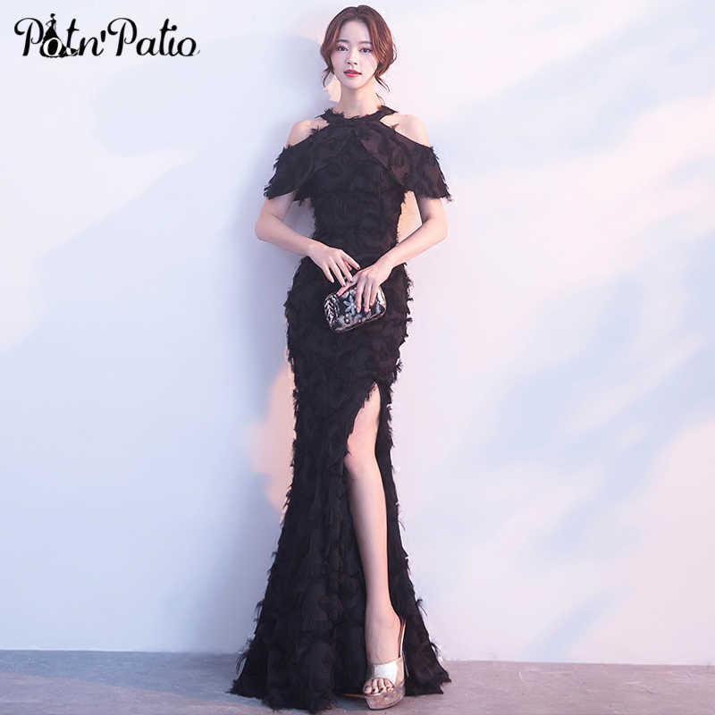 f88726f47f8a2 Black Feathers Mermaid Evening Dresses Sexy Halter Off the Shoulder Side  Split Ruffle Formal Party Gowns