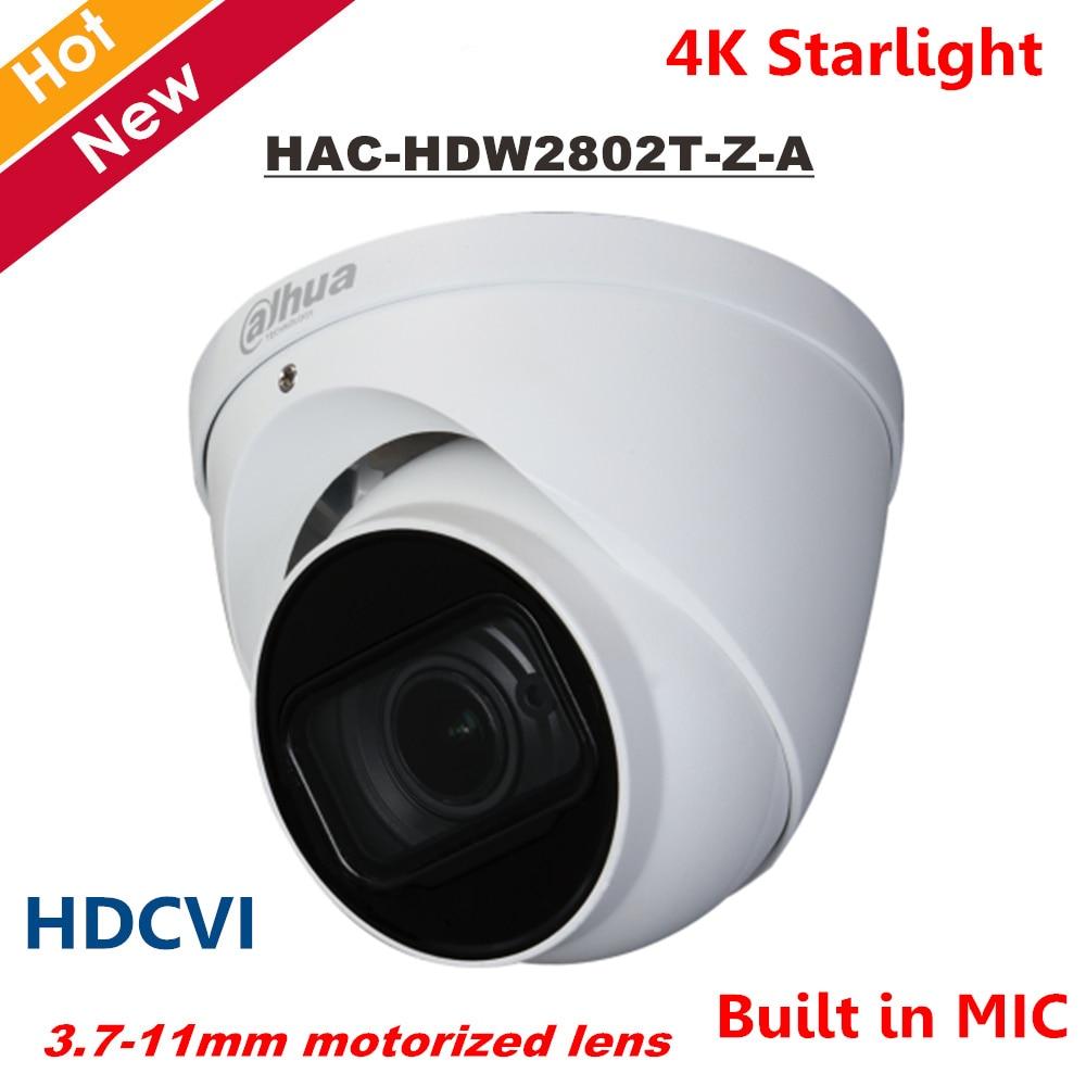 Dahua 4K Starlight HDCVI Camera Smart IR Dome Camera Built in MIC 3.7-11mm motorized lens IR 60M HAC-HDW2802T-Z-A Security camDahua 4K Starlight HDCVI Camera Smart IR Dome Camera Built in MIC 3.7-11mm motorized lens IR 60M HAC-HDW2802T-Z-A Security cam