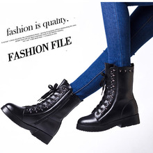 Women Boots Genuine Leather Flat Martin Ankle Boots Womens Motorcycle Boots Autumn Shoes Women Winter Patent leather Botas